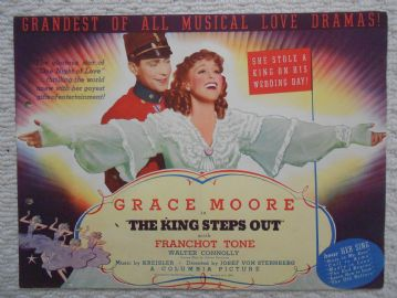 King Steps Out, Flyer/Herald, Grace Moore, Franchot Tone, '36